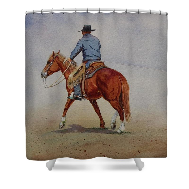 Horse Shower Curtain featuring the painting Grabbin' Ground by Valerie Coe