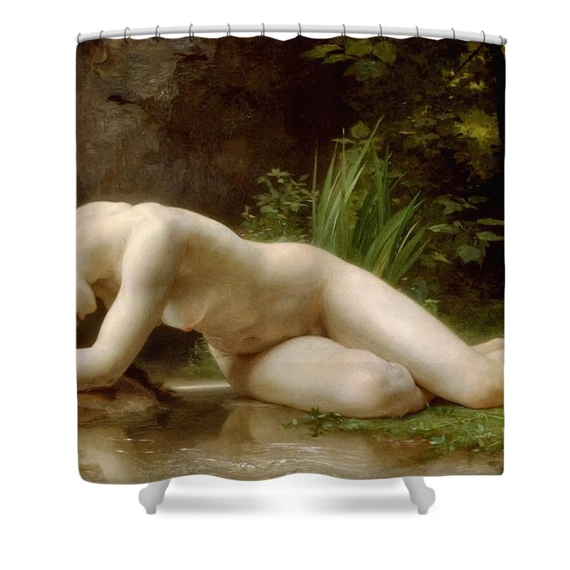 Grace In Nudity Shower Curtain featuring the painting Grace In Nudity by Georgiana Romanovna