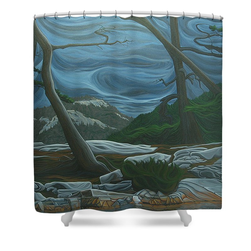 Grace Lake Shower Curtain featuring the painting Grace Lake by Jan Lyons