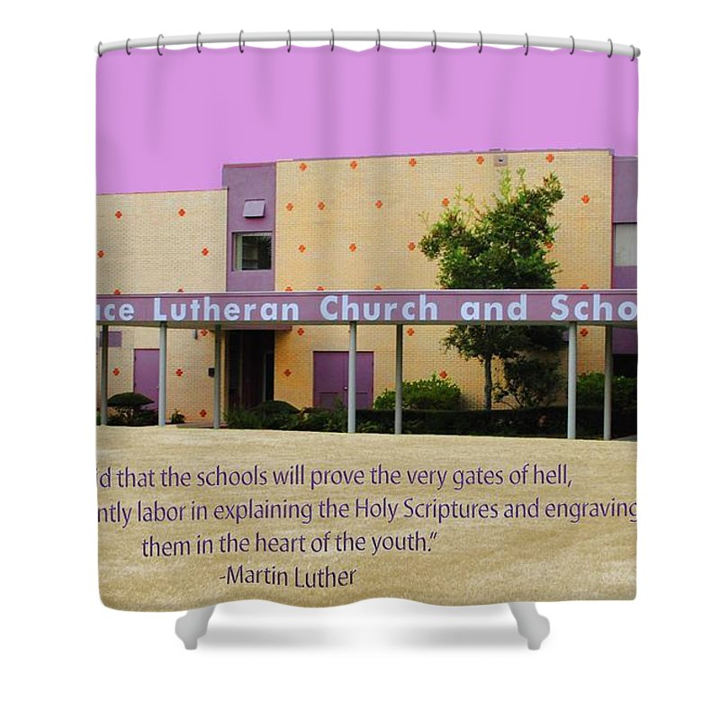Grace Shower Curtain featuring the photograph Grace Lutheran School by Jost Houk