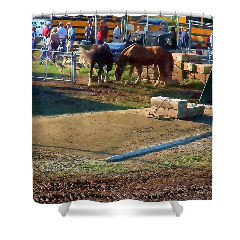 Agricultural Shower Curtain featuring the painting Grading The Ring by RC DeWinter