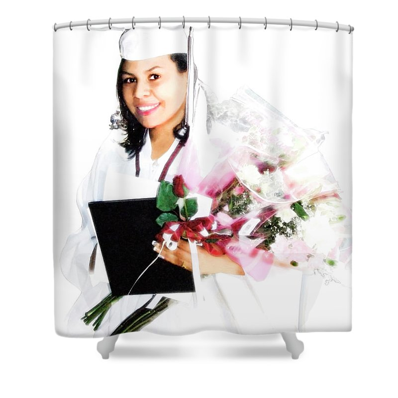 Achievement Shower Curtain featuring the digital art Graduation Pride by Francesa Miller