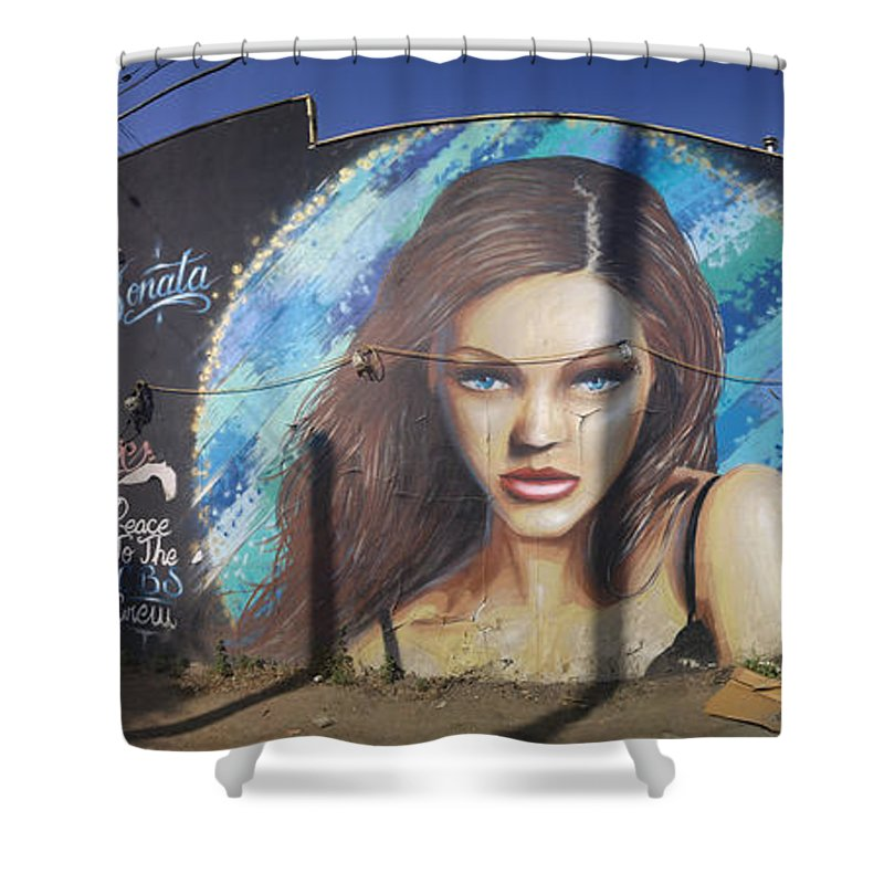 Graffiti Shower Curtain featuring the photograph Graffiti Street Art Mural Around Melrose Avenue In Los Angeles, California by Konstantin Sutyagin