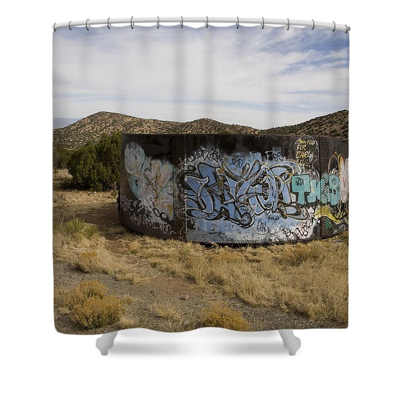 New Mexico Shower Curtain featuring the photograph Grafitti In The Middle Of Nature by Stephen St. John