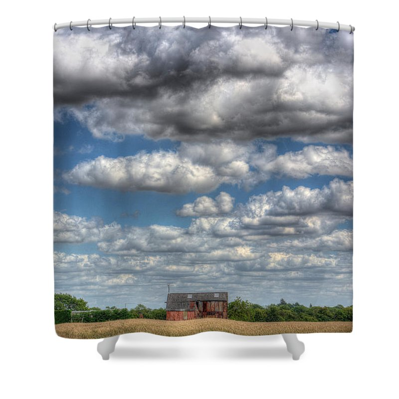 Rats Castle Shower Curtain featuring the digital art Grain Barn And Barley Field by Nigel Bangert