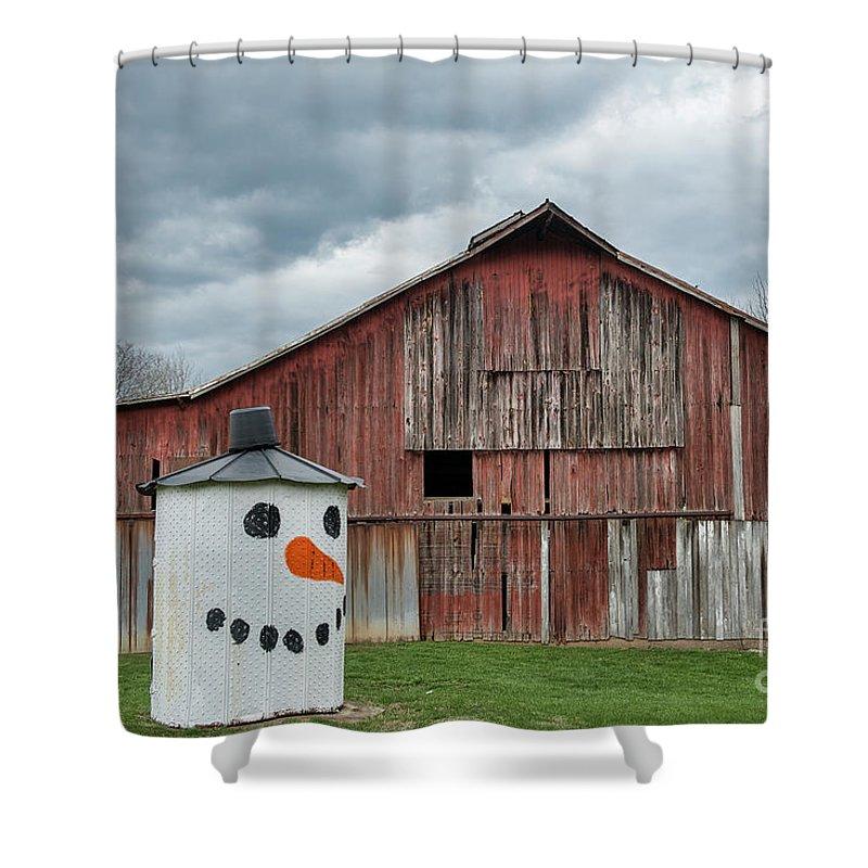 Grain Bin Shower Curtain featuring the photograph Grain Bin With Smile by David Arment