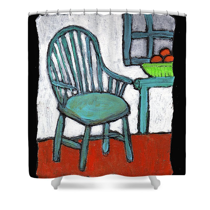 Chair Shower Curtain featuring the painting Grampa's Empty Chair by Wayne Potrafka