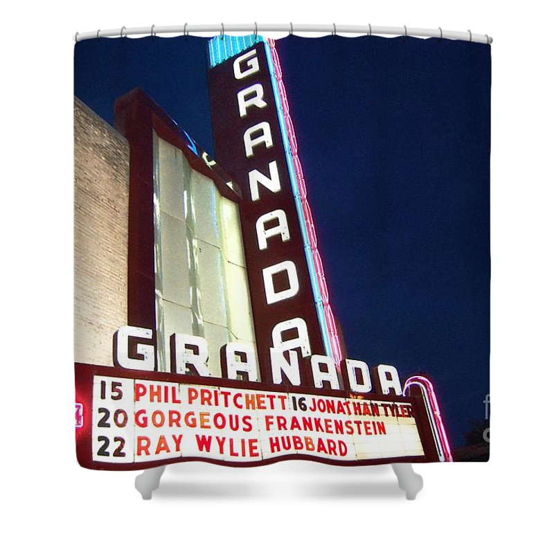 Music Shower Curtain featuring the photograph Granada Theater by Debbi Granruth
