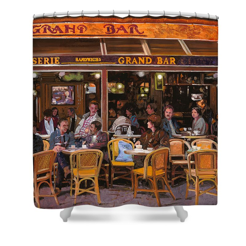 Brasserie Shower Curtain featuring the painting Grand Bar by Guido Borelli