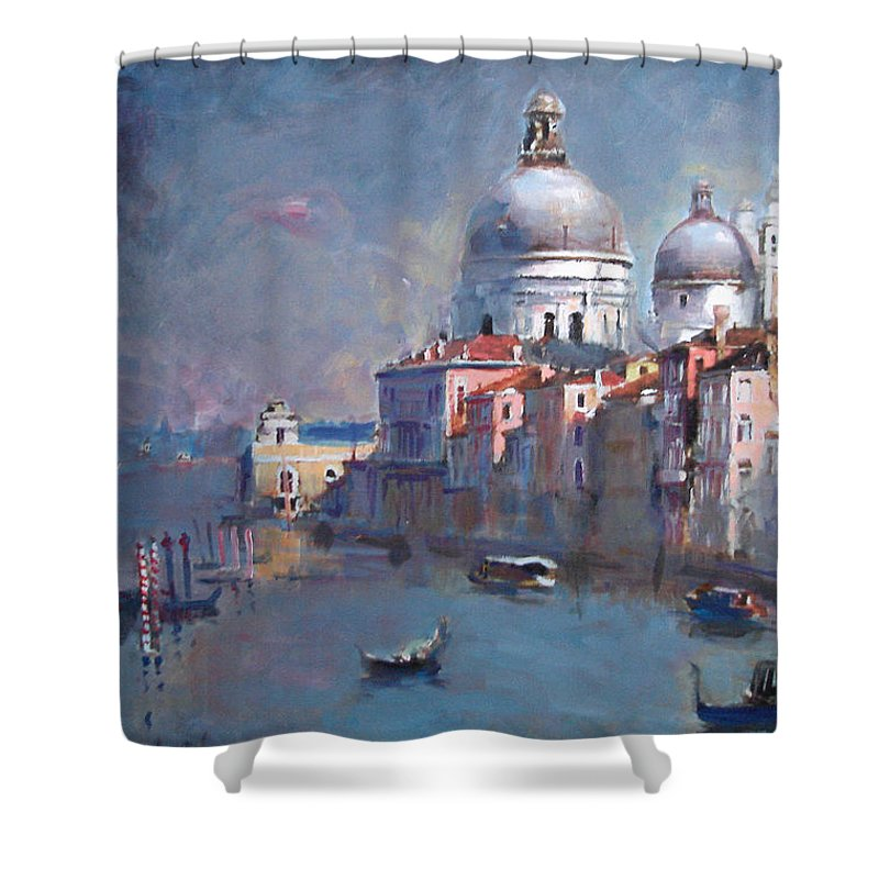 Landscape Shower Curtain featuring the painting Grand Canal Venice by Ylli Haruni