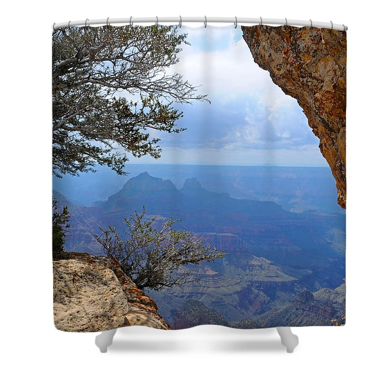 Grand Canyon North Rim Shower Curtain featuring the photograph Grand Canyon North Rim Window in the Rock by Victoria Oldham