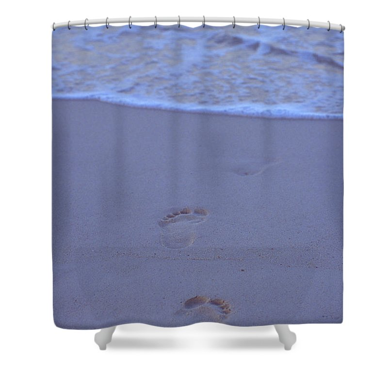 Beach Shower Curtain featuring the photograph Grand Cayman, Footprints At The Edge by James Forte