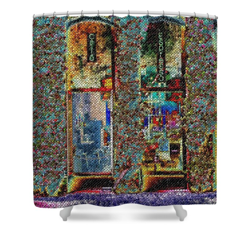 Seattle Shower Curtain featuring the digital art Grand Central Bakery Mosaic by Tim Allen