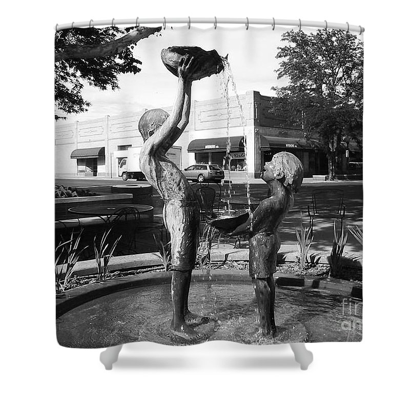 Children Playing Sculpture Shower Curtain featuring the photograph Grand Junction Co by Tommy Anderson