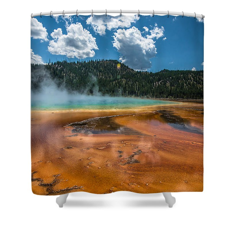 Yellowstone Shower Curtain featuring the photograph Grand Prismatic by Nicole Kofoed