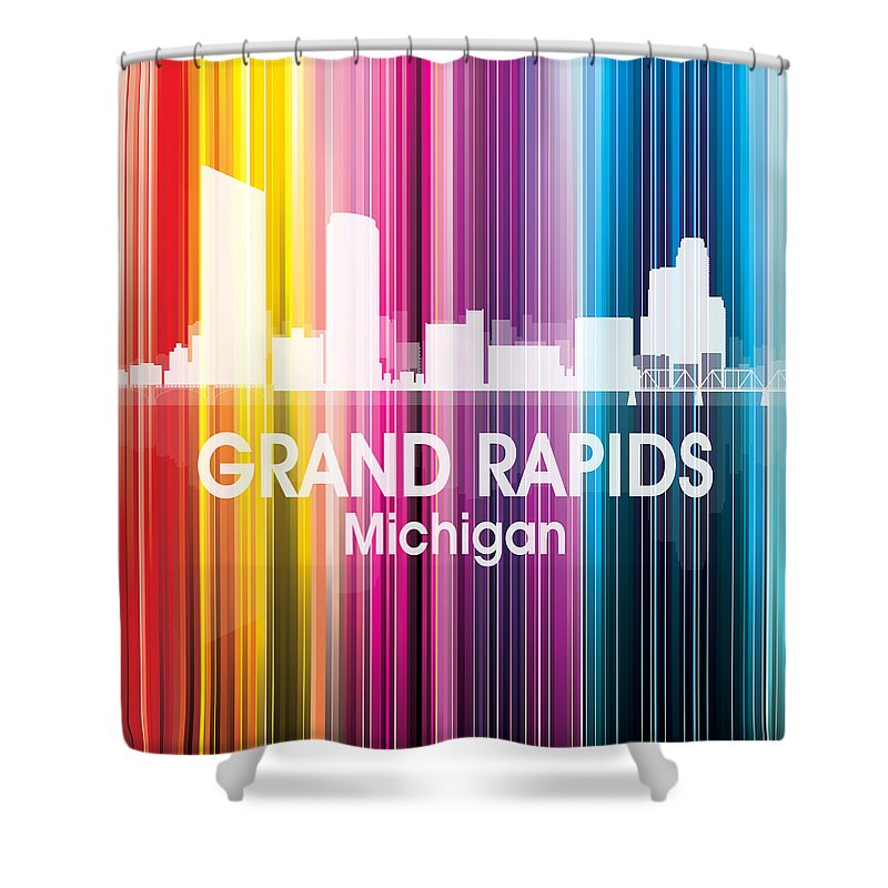 Grand Rapids Shower Curtain featuring the mixed media Grand Rapids Mi 2 Squared by Angelina Tamez