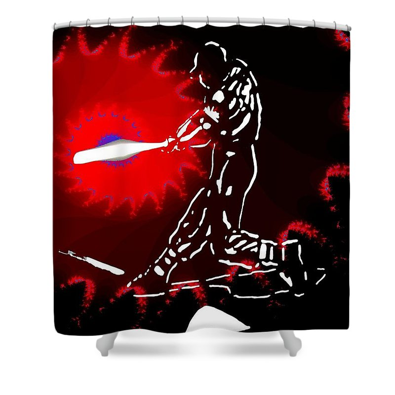 Baseball Shower Curtain featuring the photograph Grand Salami 2 by Tim Allen