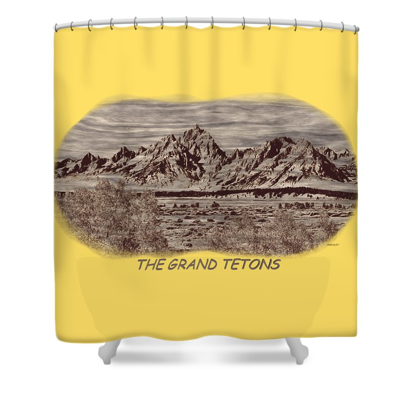 Jackson Shower Curtain featuring the photograph Grand Tetons Woodburning 2 by John M Bailey