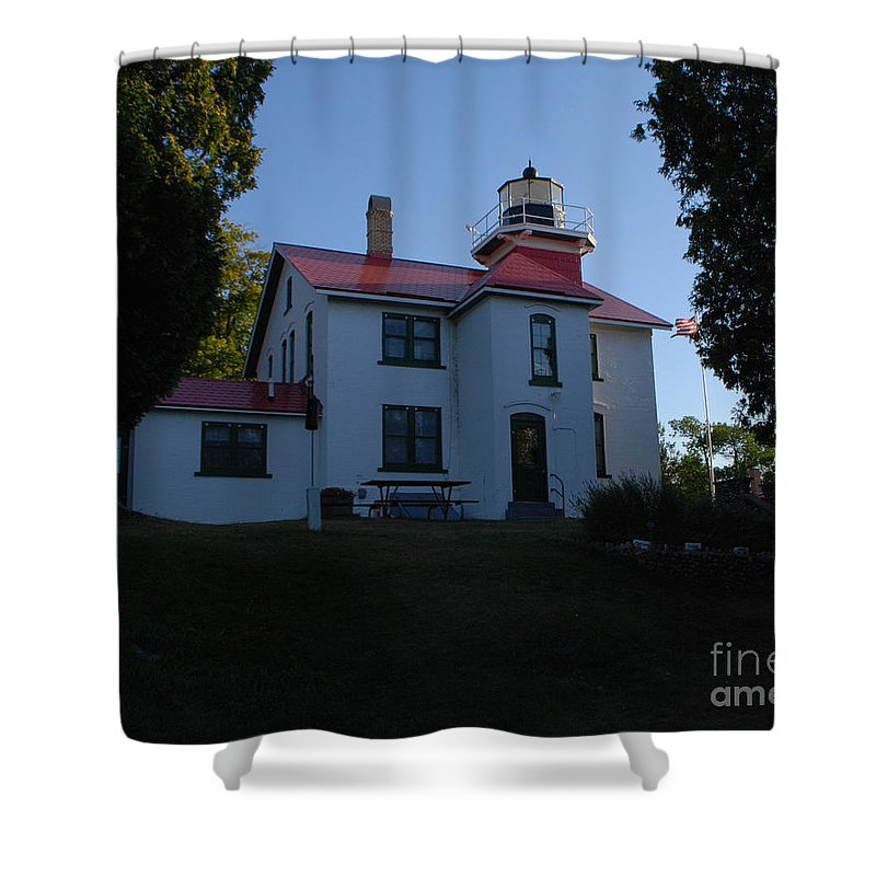 Lighthouse Shower Curtain featuring the photograph Grand Traverse Light House by Grace Grogan
