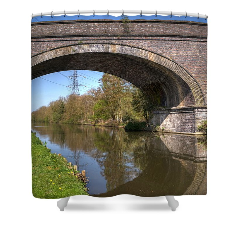 Bridge Shower Curtain featuring the photograph Grand Union Canal Bridge 181 by Chris Day