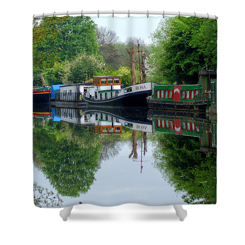 Houseboat Shower Curtain featuring the photograph Grand Union Canal Cowley West London by Chris Day