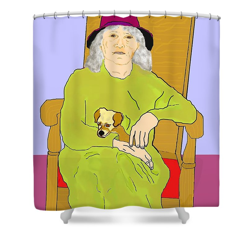 Grandmother Shower Curtain featuring the painting Grandma And Puppy by Pharris Art