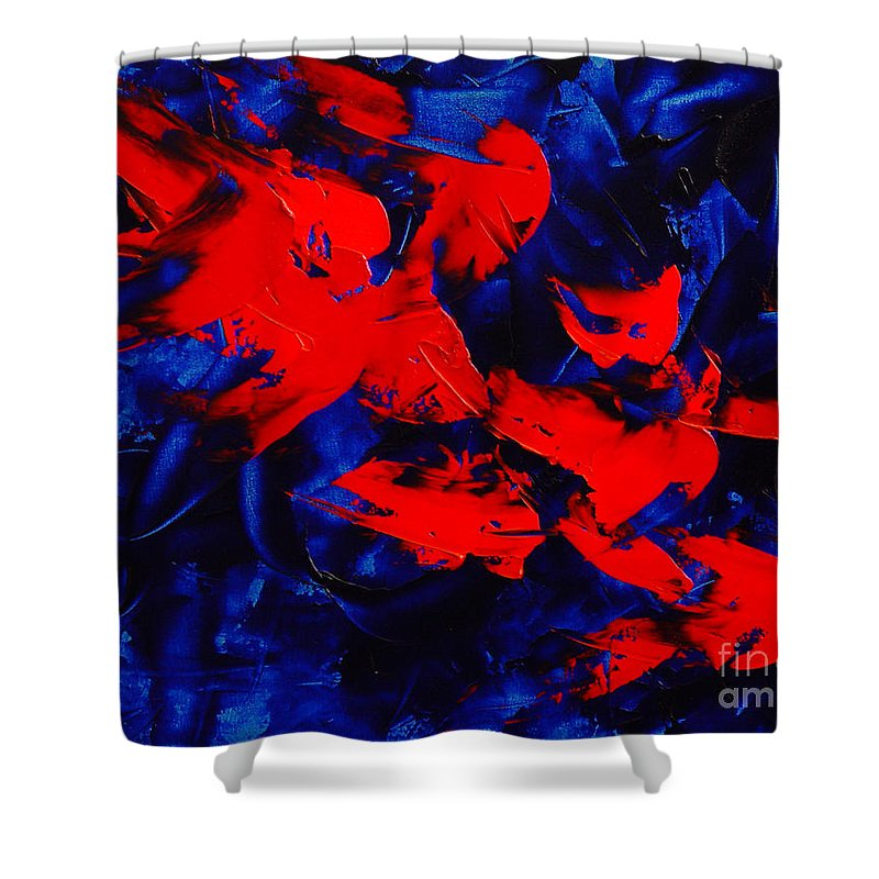 Abstract Shower Curtain featuring the painting Grandma II by Dean Triolo