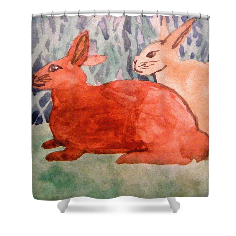 Landscapes Shower Curtain featuring the painting Grandma's Bunnies by April Patterson