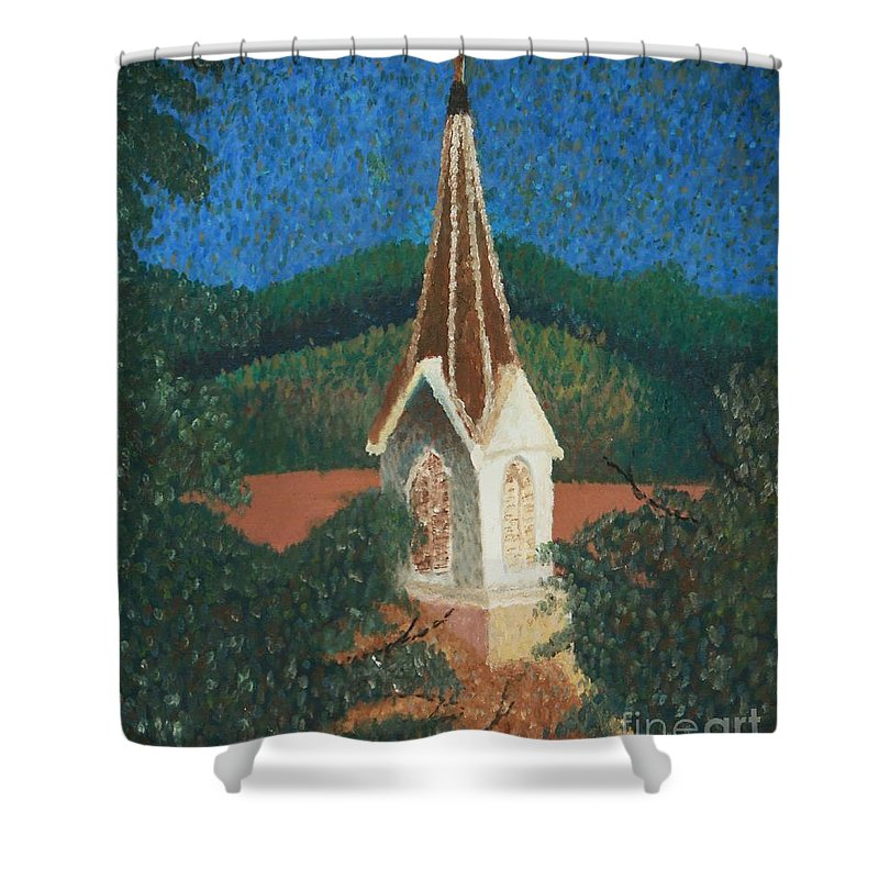 Grandma's Church Shower Curtain featuring the painting Grandmas Church by Jacqueline Athmann