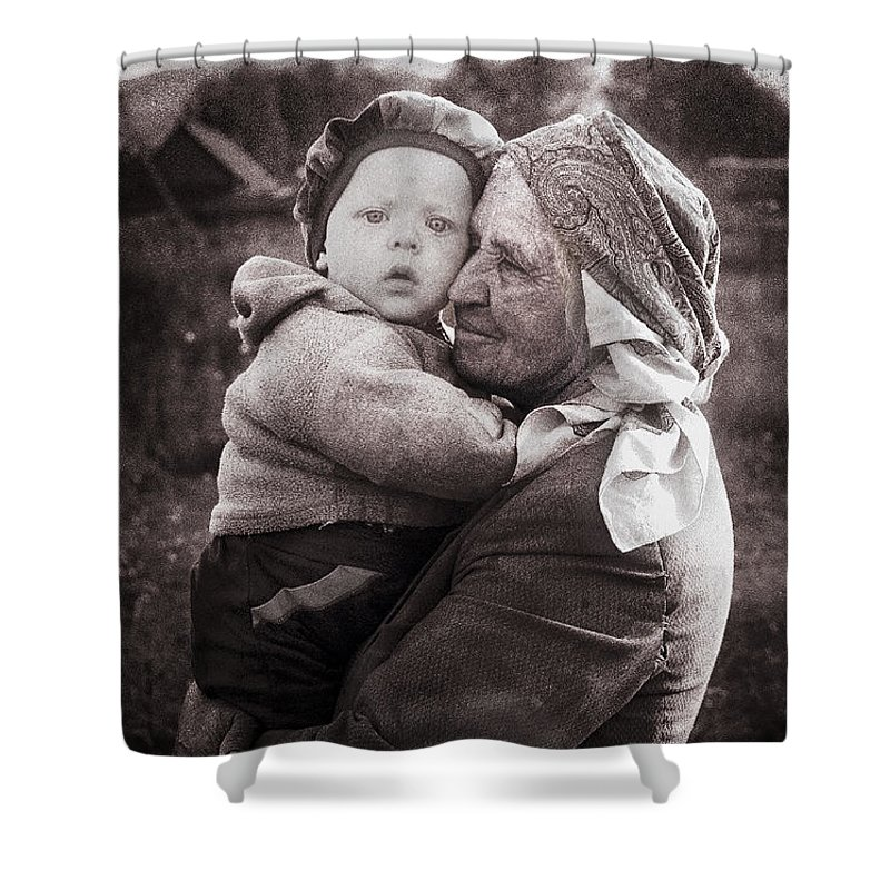Ukraine Shower Curtain featuring the photograph Grandmother And Child by Yuri Lev
