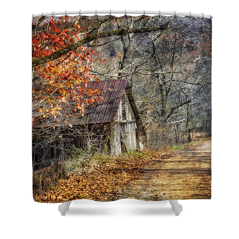 Appalachia Shower Curtain featuring the photograph Grandpa's Old Barn by Debra and Dave Vanderlaan