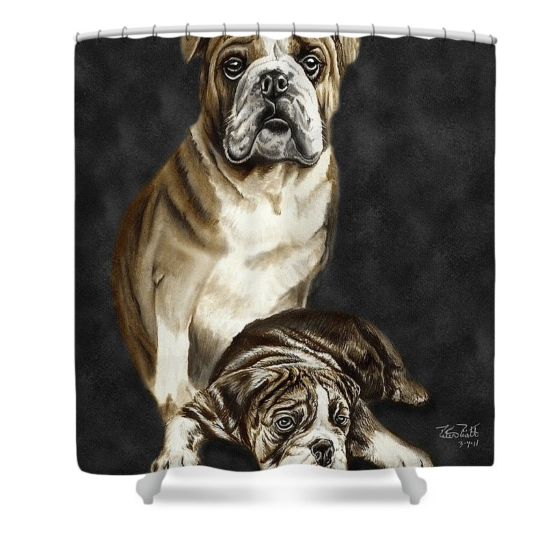 Grandson Of Sampson Shower Curtain featuring the drawing Grandson Of Sampson 2 by Peter Piatt
