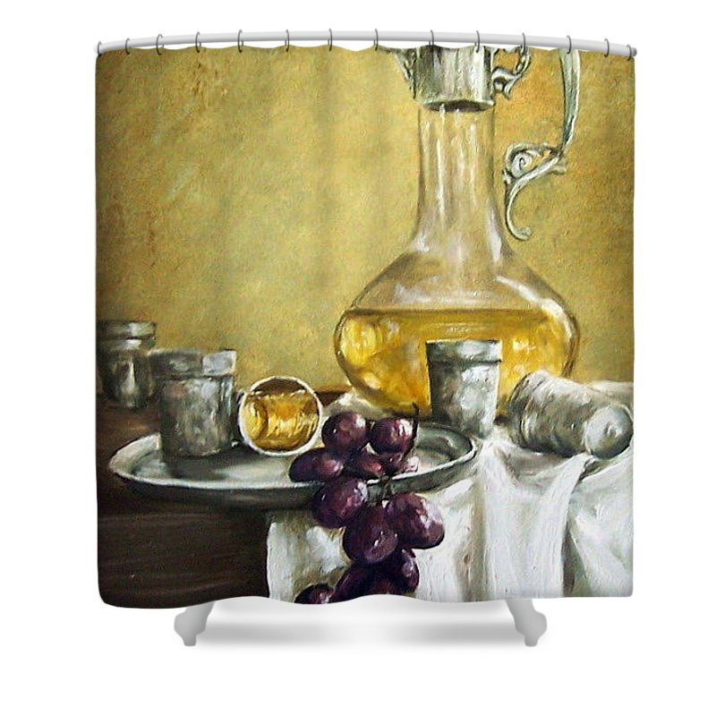 Still Life Cristal Bottle Grapes Fruits Glass Shower Curtain featuring the painting Grapes And Cristals by Natalia Tejera