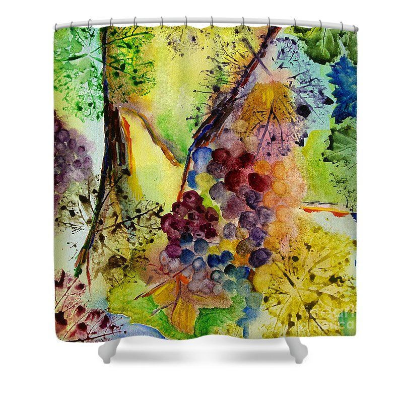 Watercolor Shower Curtain featuring the painting Grapes And Leaves IIi by Karen Fleschler
