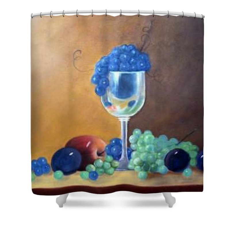 Wine Galsses With Grapes Shower Curtain featuring the painting Grapes And Plums by Susan Dehlinger
