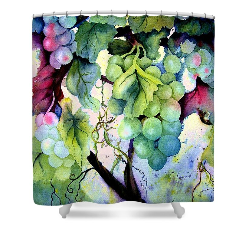 Grapes Shower Curtain featuring the painting Grapes II by Karen Stark