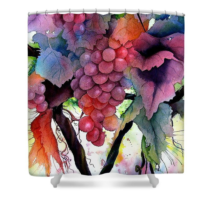 Grape Shower Curtain featuring the painting Grapes IIi by Karen Stark