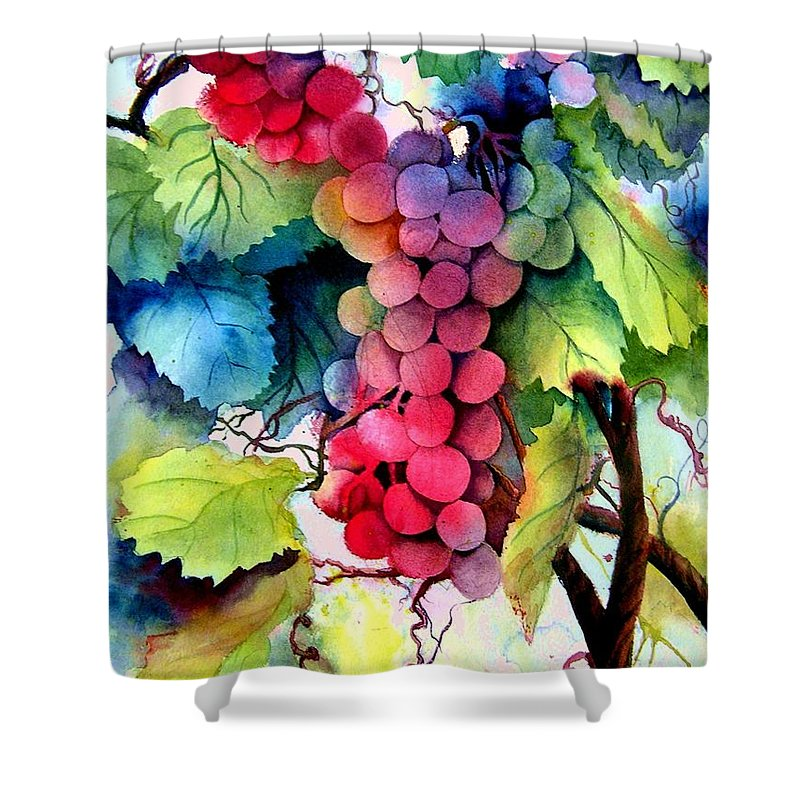 Grapes Shower Curtain featuring the painting Grapes by Karen Stark