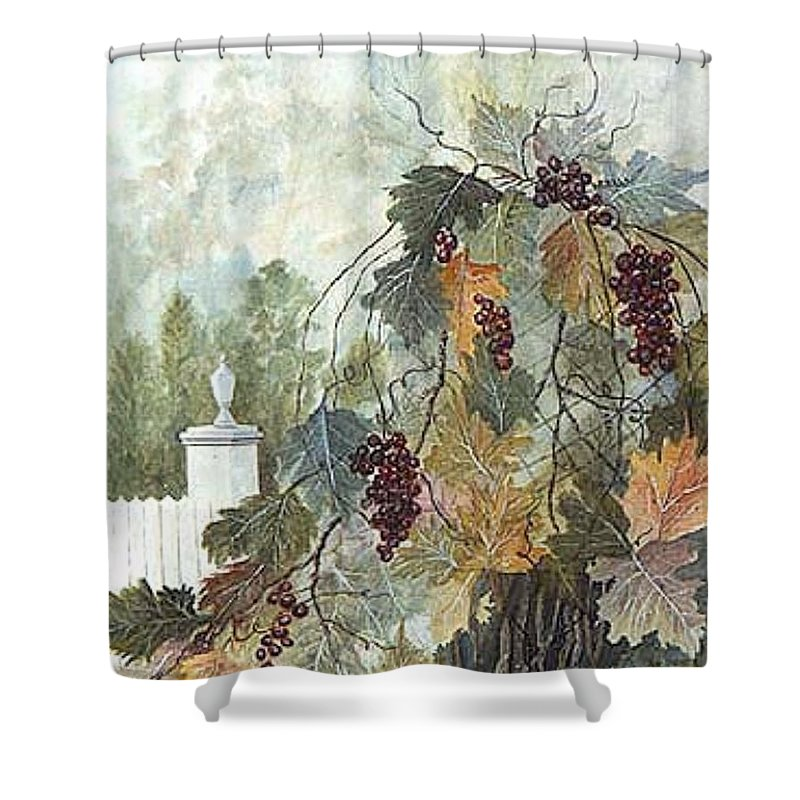 Fruit Shower Curtain featuring the painting Grapevine Topiary by Ben Kiger