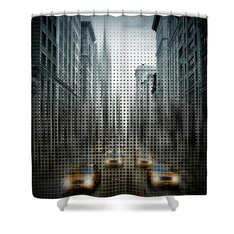 New York City Shower Curtain featuring the photograph Graphic Art Nyc 5th Avenue Traffic V by Melanie Viola