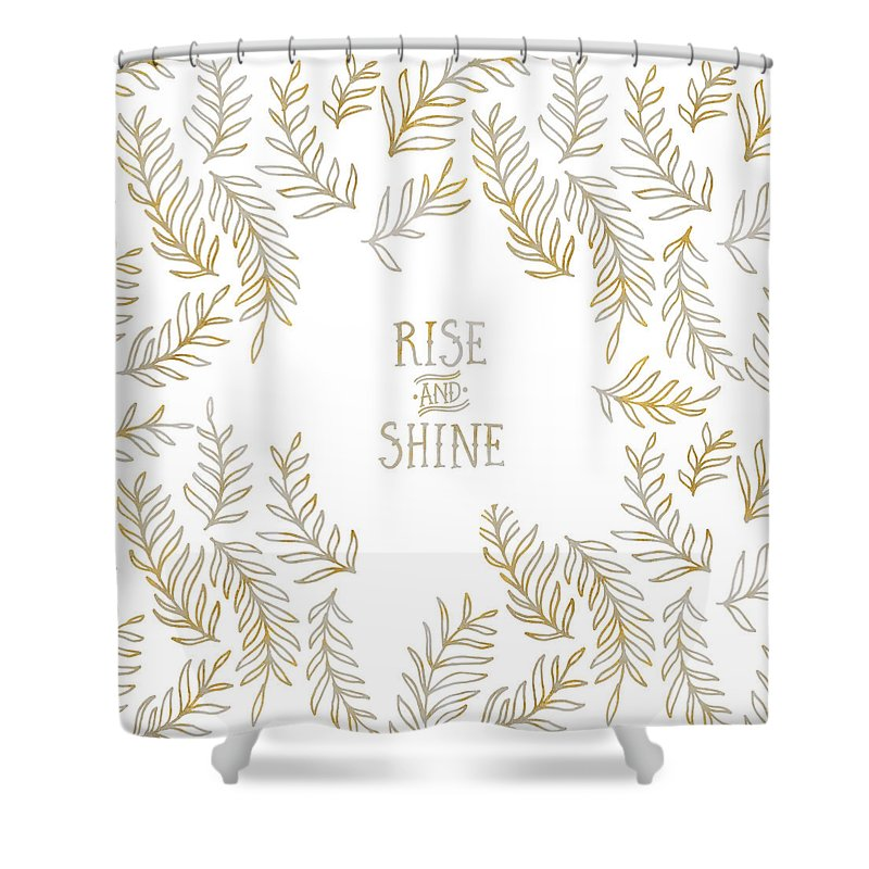 Life Motto Shower Curtain featuring the digital art Graphic Art RISE AND SHINE - gold and marble by Melanie Viola
