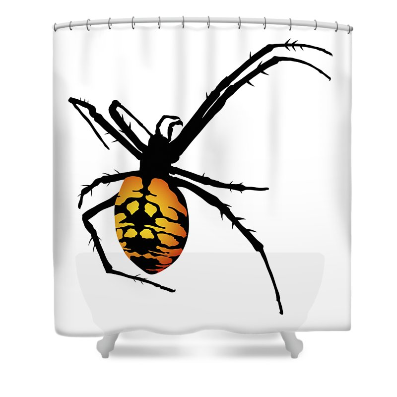 Graphic Animal Shower Curtain Featuring The Digital Art Spider Black And Yellow Orange By MM