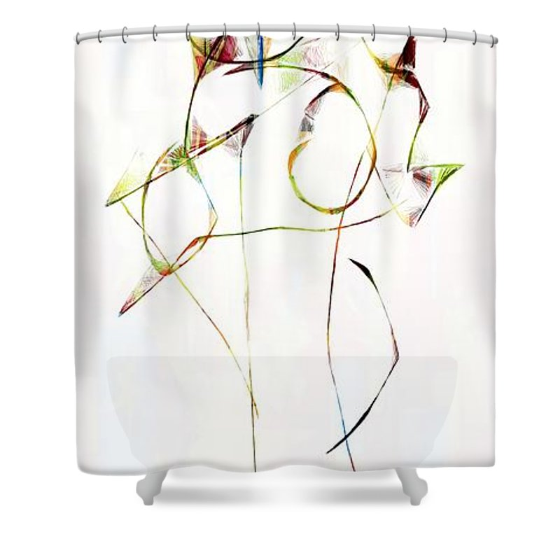 Abstraction Shower Curtain featuring the digital art Graphics 1676 by Marek Lutek