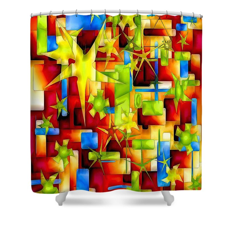 Abstraction Shower Curtain featuring the digital art Graphics 1678 by Marek Lutek