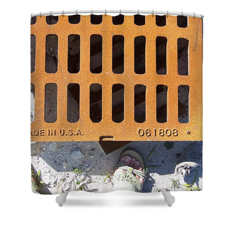 Pattern Shower Curtain featuring the photograph Grate In Summer Sun by Laurie Paci
