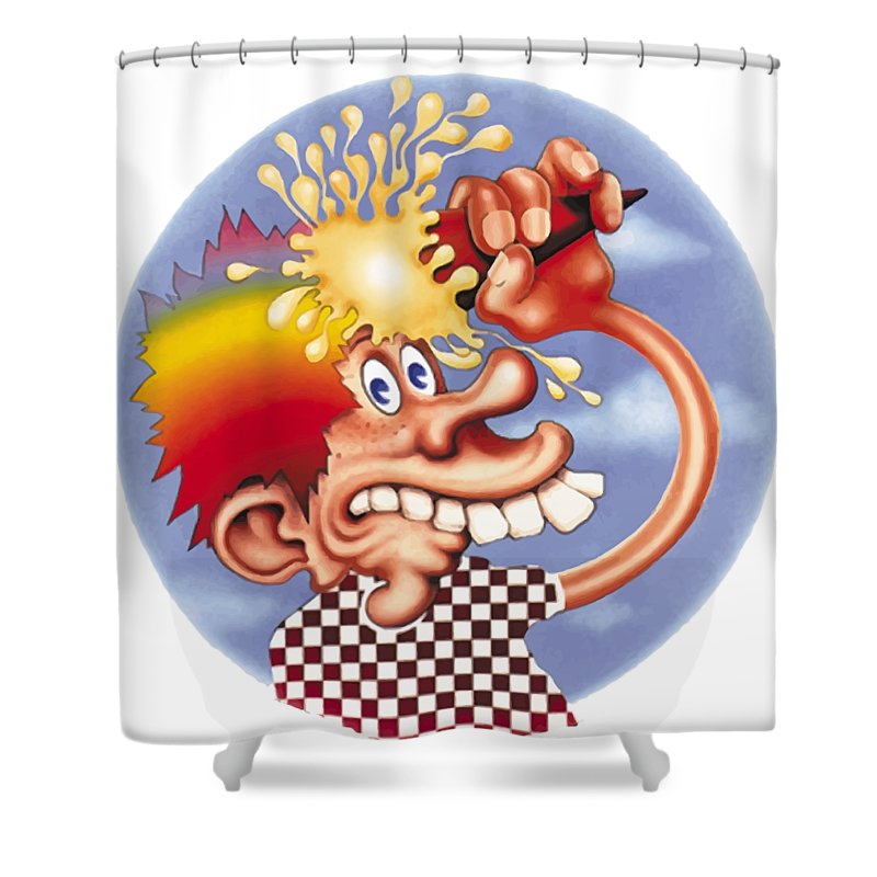 Steal Your Face Shower Curtain featuring the digital art Grateful Dead Europe 72' by Gd