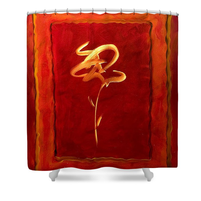 Abstract Flower Shower Curtain featuring the painting Gratitude by Shannon Grissom
