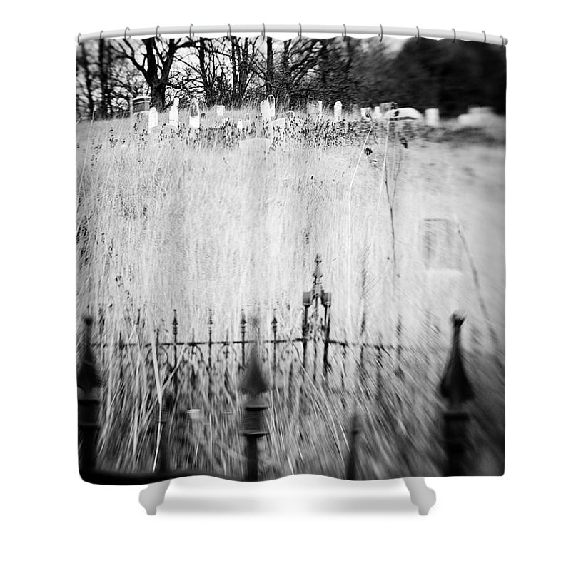 B&w Shower Curtain featuring the photograph Graveyard 6788 by Timothy Bischoff