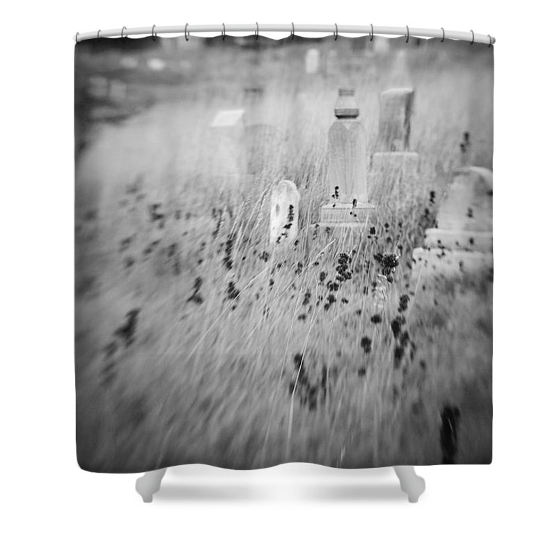 B&w Shower Curtain featuring the photograph Graveyard 6793 by Timothy Bischoff
