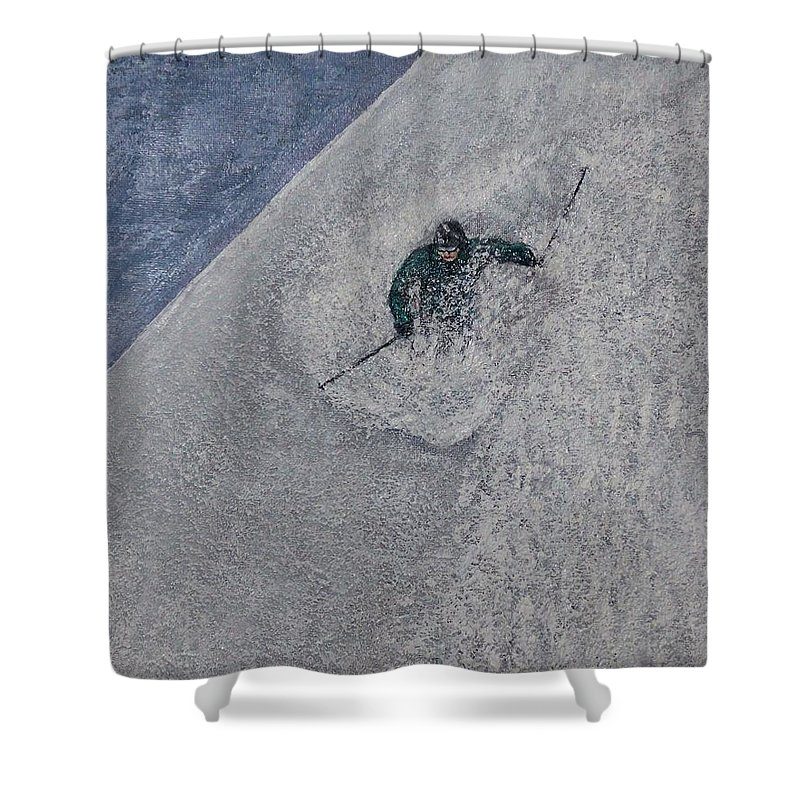 Ski Shower Curtain featuring the painting Gravity by Michael Cuozzo
